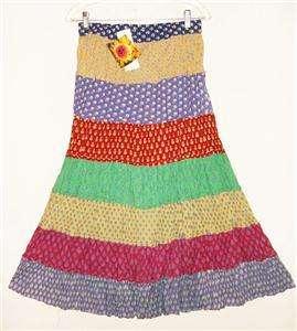 Sacred Threads Hippy Boho Indian Artsy Crinkle Skirt d