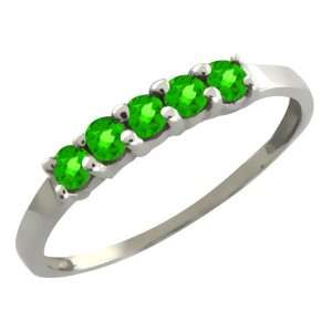 0.35 Ct Round Green Tsavorite 18k White Gold Ring Jewelry