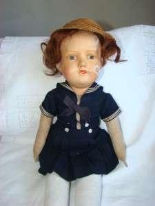 Vintage Antique Cloth & Paper Mache Doll. Signed