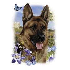 GERMAN SHEPHERD DOG flowers fabric panel & paws fabric panel dw