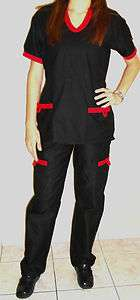 FASHION NURSE MEDICAL UNIFORM SCRUBS SET TOP & PANT XS S M L