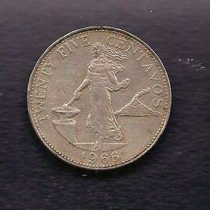 World Coins   Philippines 25 Centavos 1966 Coin KM# 189