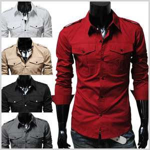 N316) Mens casual slim fit strap big pocket shirts