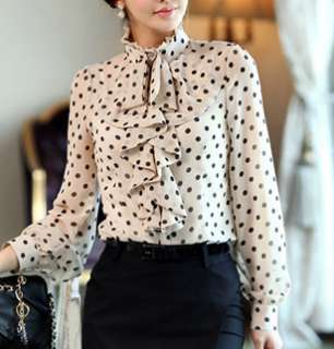 Clothes Ruffle Front high neck polka dot Print Top Shirt Blouse M