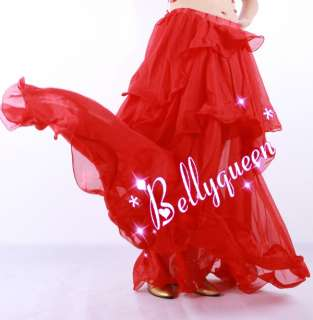 Belly Dance Costume 3Pics Bra Belt with Skirt Red