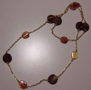 TIGERS EYE AND GLASS AMBER BEADS ON GOLD CHAIN NECKLACE
