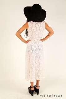 Crochet Lace Plunging Deep V Cutout Hippie Wedding Maxi Dress