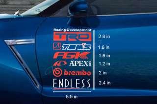 Sticker Set of 5 MUGEN POWER TEIN CIVIC TYPE R EK9 WRX