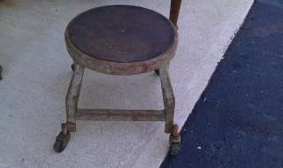 ANTIQUE industrial stool vintage steel