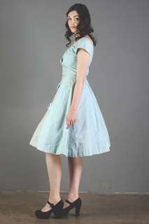BLUE madmen TIERED BOWS prom LACE party COCKTAIL vlv dress 50s 60s XS