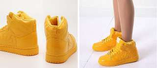 Mens Yellow Shiny High Top Sneakers Shoes US 6~11 NWT