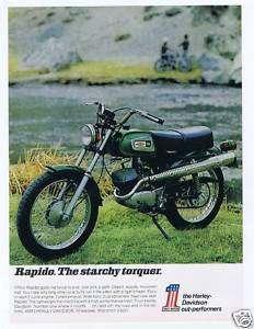 1970~HARLEY DAVIDSON 125 RAPIDO TRAIL BIKE~Motorcycle~Starchy Torquer