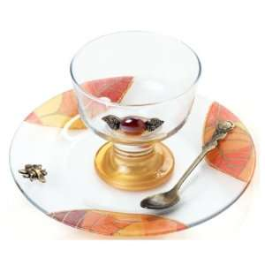 Glass Rosh Hashanah Honey Dish on Stand with Leaf Motif