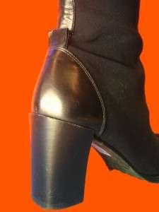 DONALD PLINER BLACK SILK ELASTIC KNEE HIGH BOOTS 6