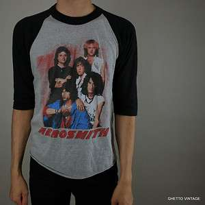 Vtg 80s AEROSMITH Concert Tour Raglan 1984 Thin 50/50 t shirt MEDIUM