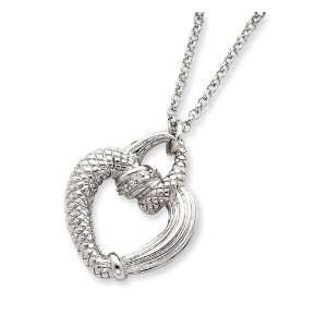Sterling Silver CZ Open Heart Necklace Jewelry