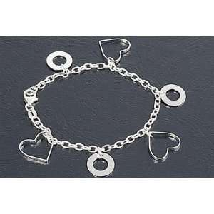 Sterling Silver Fine Open Heart & Rings Italian Charm