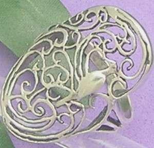 R1392 925 Sterling Silver FILIGREE LOVELY Ring Sz 10