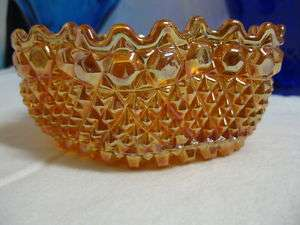 VINTAGE CARNIVAL GLASS BOWL DAISY BUTTON DIAMOND POINT