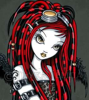 Cyber Goth Red Tattoo Angel Fairy 13x19 PRINT Crimson