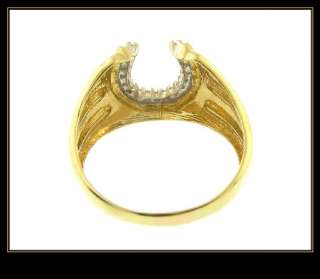 10K Solid Yellow Gold Diamond Horseshoe Fashion Ring