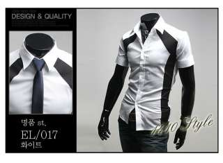 3mu Mens Designer Slim Dress Short Shirt Top Angle Black/White/Blue S