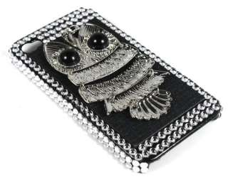 Rhinestone Owl Hard Back Case Cover Skin for Apple iPhone 4 4G Silver