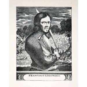 1930 Print Portrait Francis Lolonois Historic Costume Fashion Sword