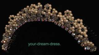 Tiara Pearls Crystals Rhinestones Wedding Bridal Brand New