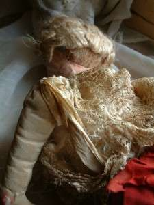 Rare Authentic Antique French Shabby Chic Cloth Boudoir Doll for