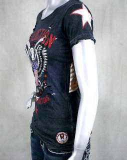 AFFLICTION womens T shirt LIVE FAST FREE scoop neck w/holes black