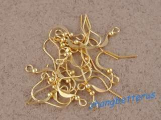 wholesale lots 200 Pcs Gold plated earring Hooks Jewelry findings 15mm