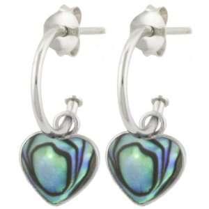 Sterling Silver Abalone Heart Charm Hoop Earrings (0.4