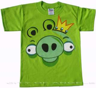 Angry Birds Funny Shirt Kids Green King Pig Unisex Cool