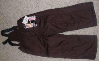 NWT Girls Arizona Brown SNOW PANTS Removeable BIBS Ski pants Size M 5