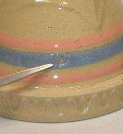 McCOY Pottery Pink & Blue Stripe Shoulder Mixing Bowl |