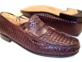 Salvatore Ferragamo Mens Brown Dress Shoes Woven Loafers 8.5 D