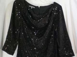 Anne Klein Little Black Sequin Dress 3/4 Sleeves Size 8 (0950