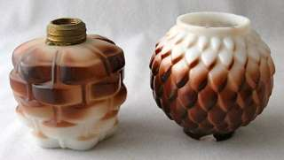 Dec. milk glass miniature oil lamp base and shade