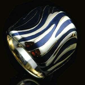 18k Gold Plated Black Enamel Zebra Print Fashion Ring