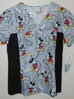 Cherokee Medical Uniform Scrub Top   Disney Mickey Gray
