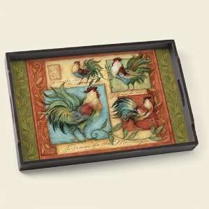 Standing Proud Roosters 18 x 12 inch Decorative Tray: Home