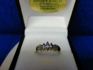 10K YELLOW GOLD DIAMOND AND TANZANITE RING, SIZE 7