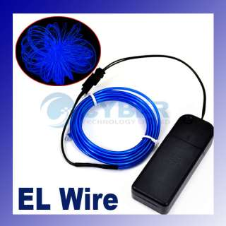 Flexible Blue Neon EL Light Glow Wire Rope Car Party 3M
