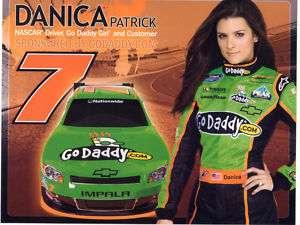DANICA PATRICK 2011 GO DADDY #7 NASCAR POSTCARD