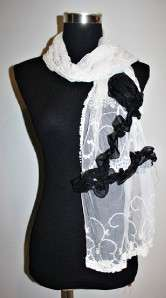 Garcons comme le fashion embroidered Lacy ruffles Rose des Scarf White