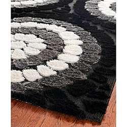 Hand woven Silken Embossed Black Shag Rug (8 x 10)