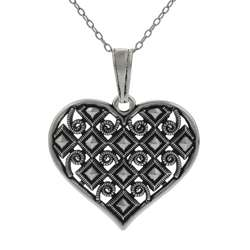 Sterling Silver Vintage style Heart Necklace