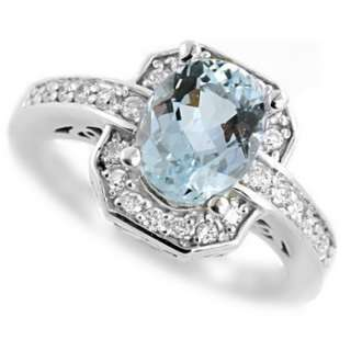 BLUE AQUAMARINE & DIAMOND 14K WHITE GOLD ENGAGEMENT RING VINTAGE