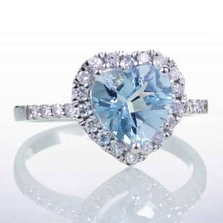 14K WHITE GOLD HEART AQUAMARINE DIAMOND SOLITAIRE RING